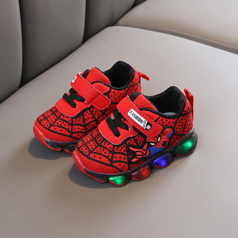 Детские светящиеся туфли «Человек-паук», мягкие кроссовки для мальчиков и девочек, дышащие, со светодиодной подсветкой, для младенцев, тенн...