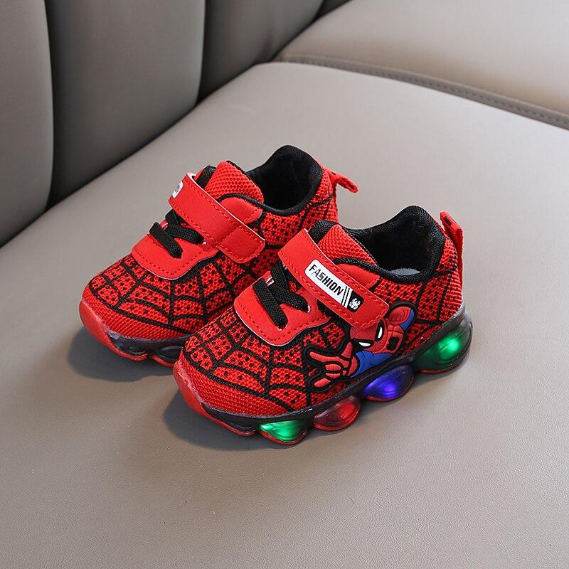 Novo homem aranha crianças sapatos luminosos para meninos gilrs led iluminado macio primavera outono bebê crianças tênis infantil respirável