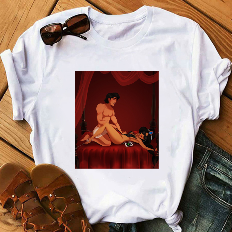 Women's Tshirt Aladdin Jasmin Romantic Night Funny T Shirt Girl Fitness Summer O-Neck Casual Short Sleeve Camiseta Mujer Lady