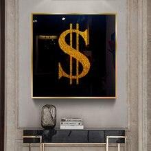 Cuadro de Arte Moderno con dinero de dólar dorado, impresiones y póster de fondo negro, decoración del hogar, lienzo, manualidad para regalo, Cuadros para habitación