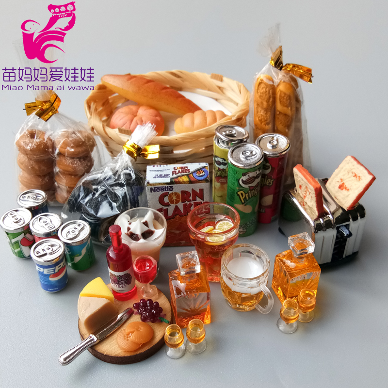 Mini Dollhouse Accessories Food Drink Cola Chips Bread Oreo Cup Beer Red Wine For Barbie Blythe Doll