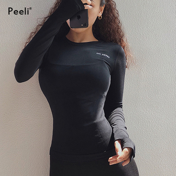 Peeli Long Sleeve Yoga Shirts Sport Top Fitness Yoga Top Gym Top Sports Wear for