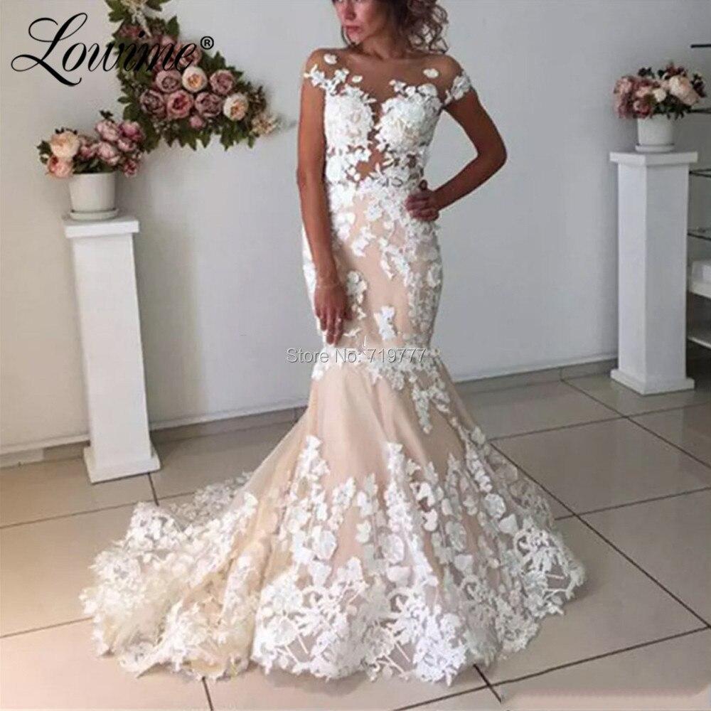 Africain sirène robe de mariée sur mesure arabe dentelle appliques robes de mariée pas cher robe de mariée dos nu Bridel robes 2020