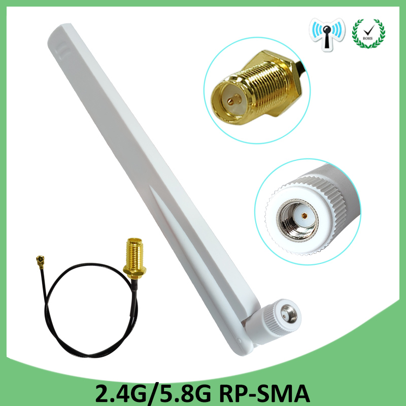 2.4GHz 5GHz 5.8Ghz Antenna 5dBi RP-SMA Connector Dual Band 2.4G 5G 5.8G Wifi Antena Aerial SMA Female + Pigtal Cable