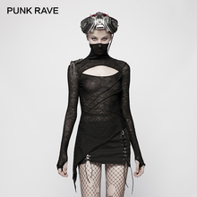 PUNK RAVE New Black Slim Punk Women Knitted T Shirt Fashion Dark  Handsome Mask Styling Tees Hollow Design Chest Gothic Tops