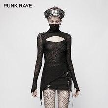 Punk rave novo preto magro punk feminino malha camiseta moda escuro bonito máscara estilo t oco design peito gótico topos
