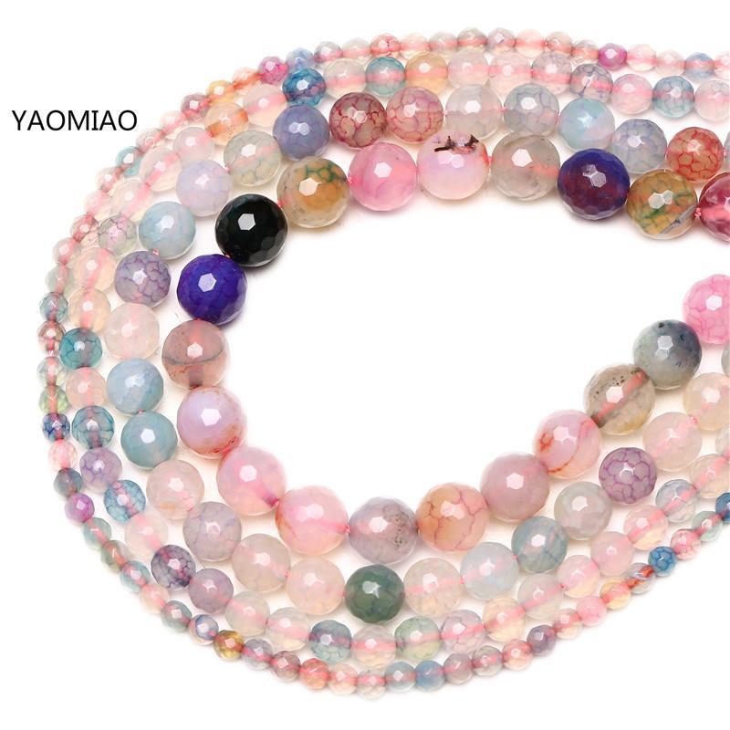 Perles en pierre naturelle à facettes, veines de Dragon colorées, perles d'agates pour la fabrication de bijoux, Bracelet en boule cornaline Onyx collier à faire soi-même