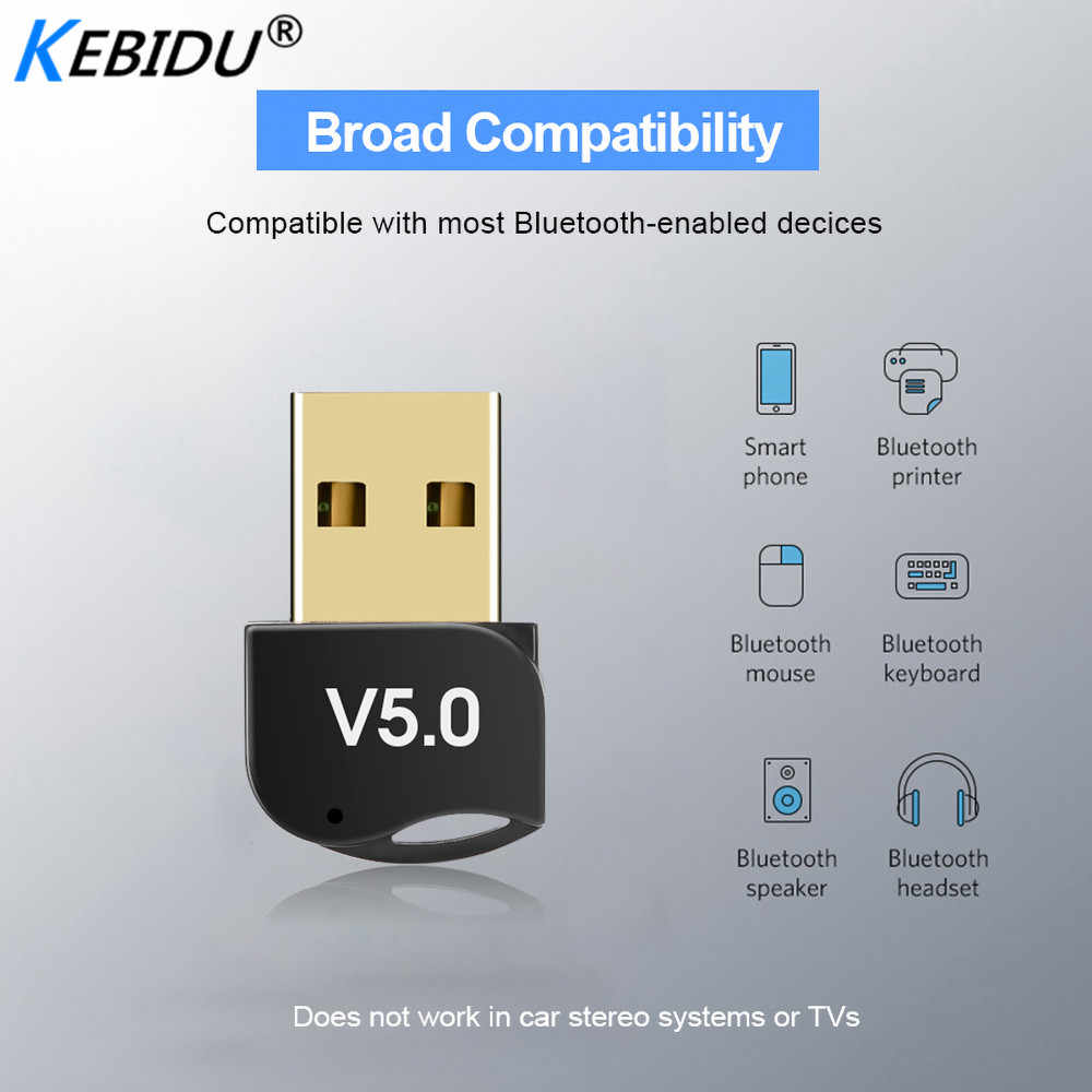 Kebidumei Usb Bluetooth Adapter V5.0 Dual Mode Draadloze Bluetooth Dongles Muziek Sound Receiver Adaptador Bluetooth Zender