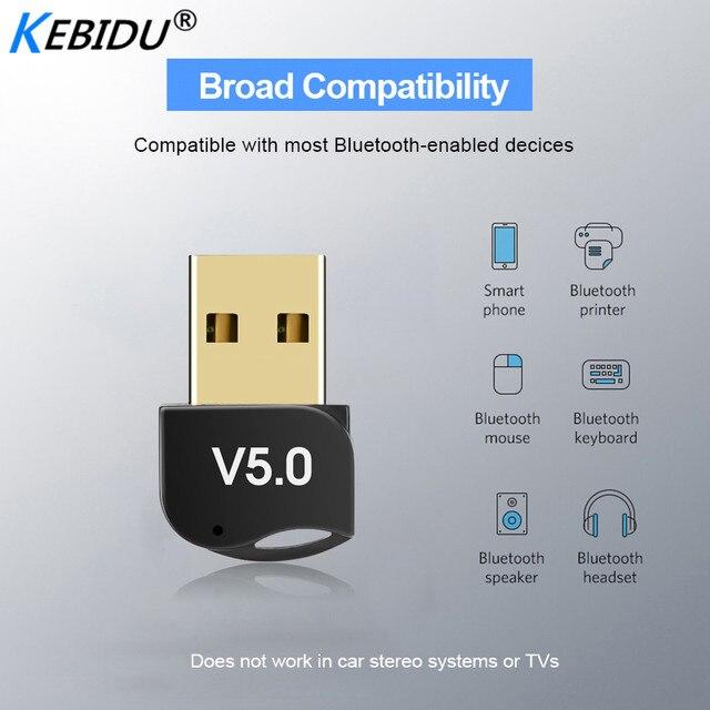 Kebidumei usb adaptador bluetooth v5.0 modo duplo sem fio bluetooth dongles música receptor de som adaptador transmissor bluetooth