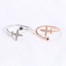 Korean fashion new cute airplane star ring adjustable opening ring