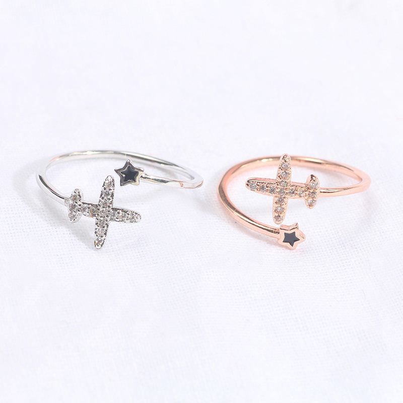Korean fashion new cute airplane star ring adjustable opening ring image