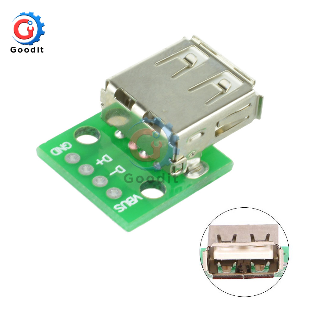1pcs Type A Female USB To DIP 2.54MM PCB Board Adapter Converter Breadboard For Arduino Connector USB 2 Switch Board