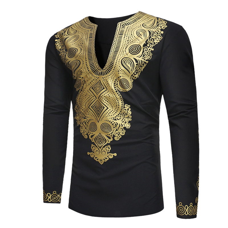 SHUJIN Shiny Bronzing 3D Print Shirt Men African Dashiki Shirts Male 2020 Hip Hop Streetwear Long Sleeve Tees Shirt Homme Tops