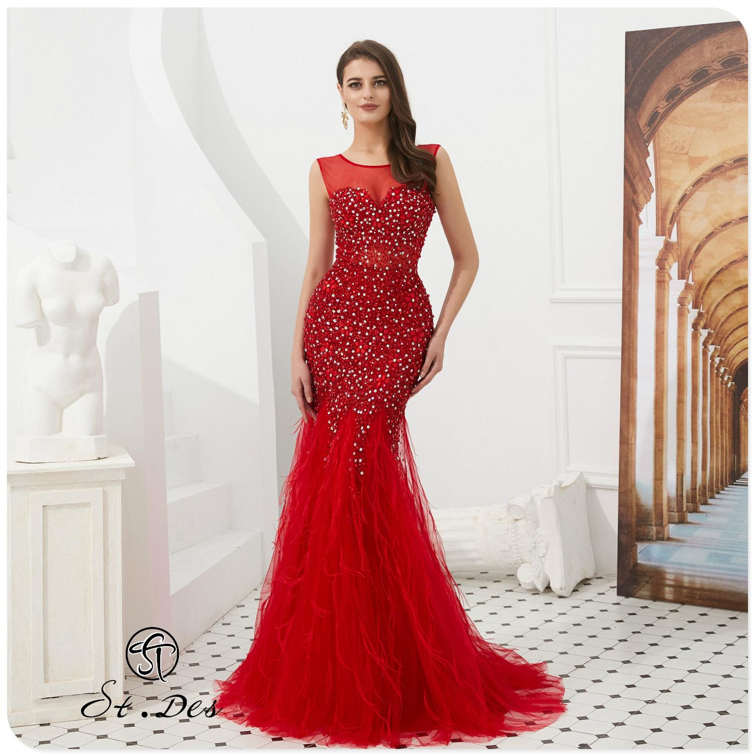 NEW Arrival 2020 St.Des Mermaid O-Neck Red Long Sleeve Russian Sequins Designer FloorLength Evening Dress Party Dress Party Gown