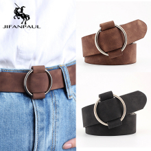 JIFANPAUL женские высококачественные модные джинсы с круглым отверстием и пряжкой из сплава, ретро студенческие ремнем