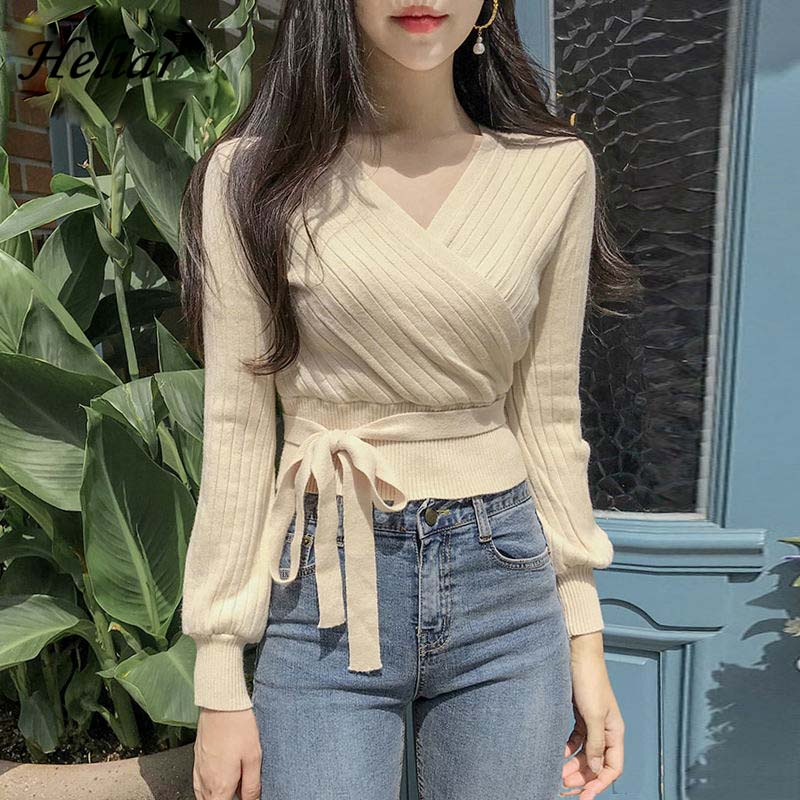 HELIAR Women Sweater Deep V-Neck Tied Up Winter Knitting Sweater Sexy Knitted Blouse And Pullovers Long Sleeve Loose Sweater