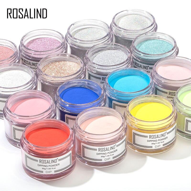 ROSALIND Nail Dipping Powder Glitter Holographic Set Nail Art Design 30g Dip Powder Natural Dry Without UV Lamp Cure Top Base