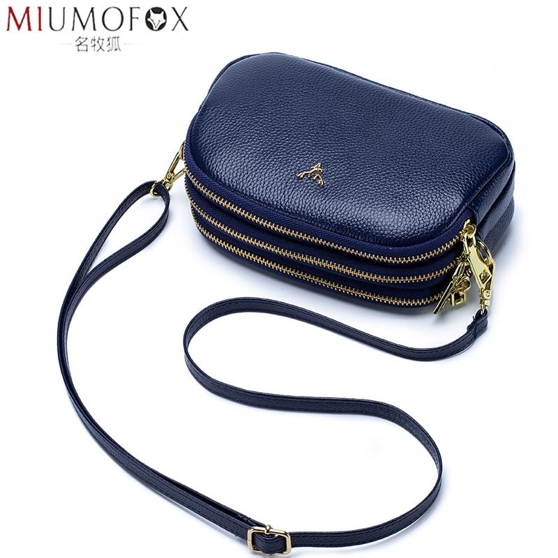 Stylish Three-layer Zipper Cow Leather Shoulder Bag Women's Luxury Handbags Crossbody Bag Women Phone Messenger Bags Small Bag
