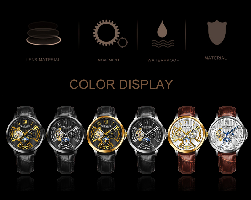 H9f4b1ccf033b4a84ad96fed9a6b516bbH WAKNOER Automatic Mechanical Watch Men Stainless Waterproof Moon Phase Luminous Luxury Gold  Business Tourbillon Montre Homme