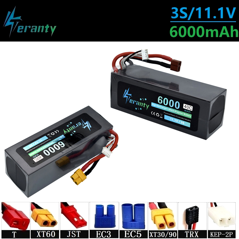 Upgrade 11.1v 6000maH 40C Lipo Batterry For RC Quodcopter Cars Boats Drone Spare Parts 3s 6000mah 11.1v Rechargeable Batteries