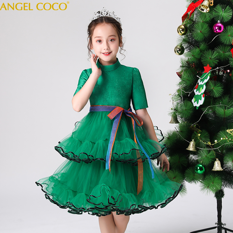 Green Christmas Teenager Lace Cake Layer Dresses For Girls Clothing Halloween Tulle Birthday