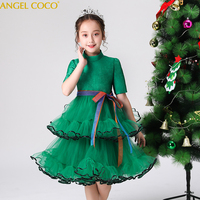 Green Christmas Teenager Lace Cake Layer Dresses For Girls Clothing Halloween Tulle Birthday Party Evening Kids Children Gown