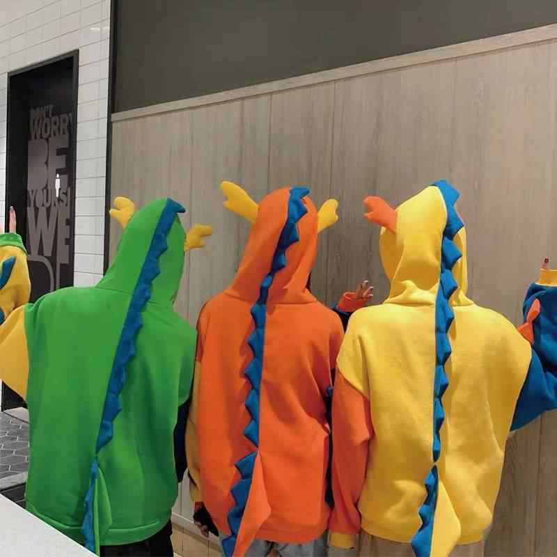 가을과 겨울 플러스 벨벳 야생 한국어 bf 일본어 귀여운 공룡 이상한 여자 학생 느슨한 후드 자켓 여성