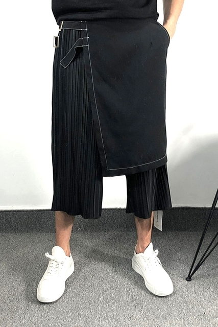 Owen Seak Men Casual Cross Pants Skirt High Street Wear Dark Ankle Length Pants Men Japanese Sweatpants Spring Harem Black Pants 4