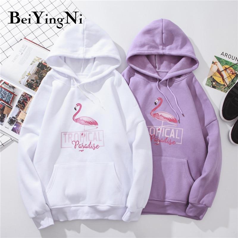 Beiyingni Women Sweatshirts Hoodies Plus Size Fleece Thick Hooded Hoody Female Autumn Winter Cartoon Flamingo Printed Sweatshirt