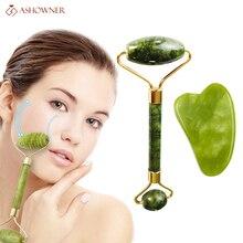 Facial Massage Roller For Face Natural Massager Double Heads Green Guasha Scraper Set Thin Lift Beauty Slimming Tools Roller