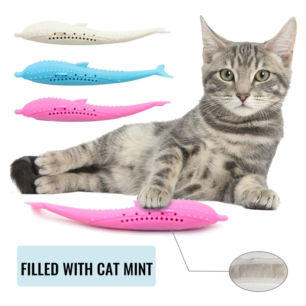 Cepillo de Dientes del Gato de Juguete 2 Piezas Cepillo de Dientes de Gato de con Hierba Gatera Juguetes de Silicona para Peces Cepillo de limpieza para Dientes de Gato Palo de Molar para Mascotas