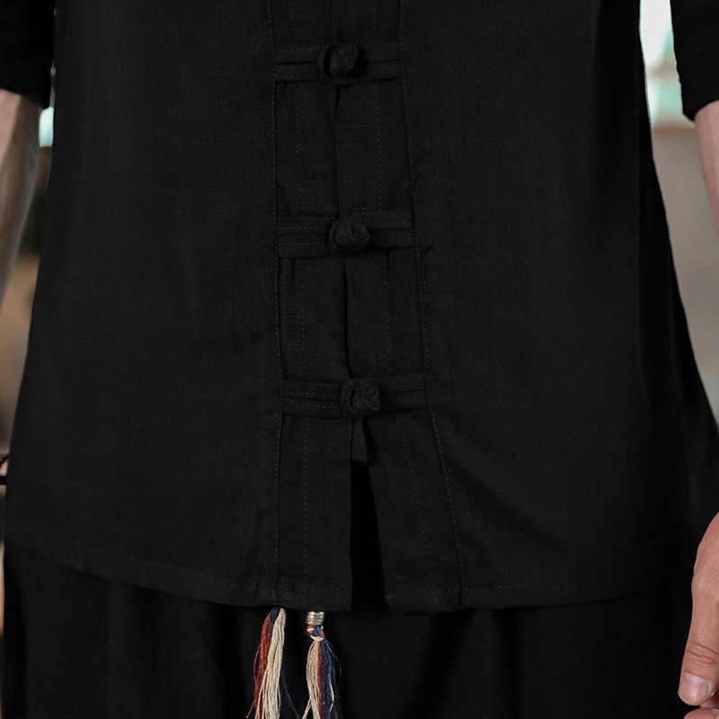 スカイブルー綿リネンシャツ男性 2019 新メンズ中国の伝統的なカエルのボタンシャツスリムフィット半袖カジュアル唐シャツ 4XL