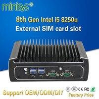 Minisys Fanless Linux Computer 8th Generation Intel Core i5 8250u 4k Mini PC Dual Nic Barebone Nvidia PCs with SIM Card Slot