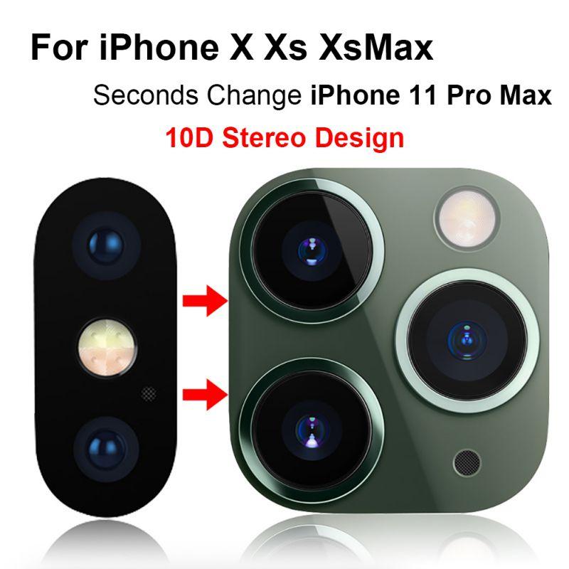 Téléphone arrière caméra lentille protecteur cadre en métal verre trempé pour IPhone X/Xs/Xs Max