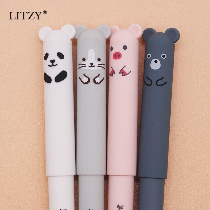 4pcs Cartoon Animals Erasable Pen 0.35mm Cute Panda Cat Magic Pens Kawaii Gel Pens For School Writing Stationery Student Gifts