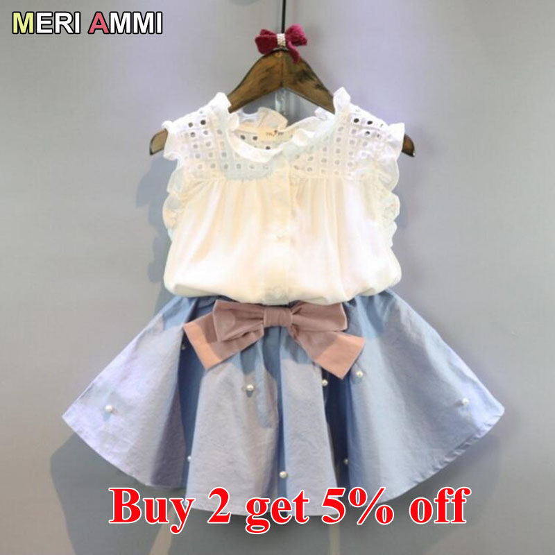 MERI AMMI Baby Girl Clothing Outfit Set Lace Sleeveless Tee Floral Top +Skirts With Bow Outwear For 2-11 Year Children