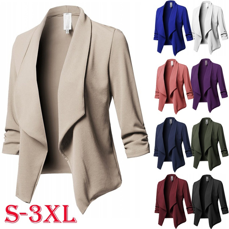 ZOGAA Blazer Women Fashion Solid Color 3/4 Sleeve Open Jacket Slim Simple Casual Blazer