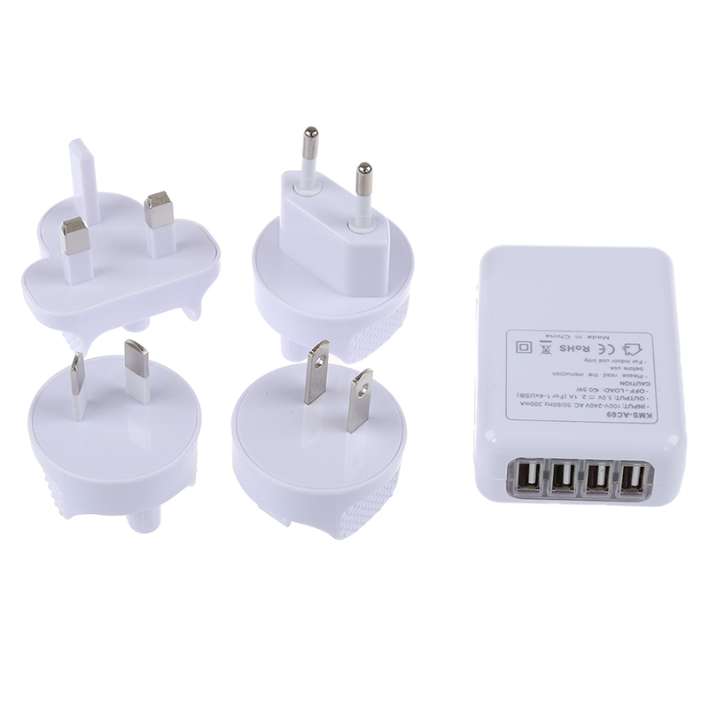 4 Port USB AC Adapter US/EU/UK/AU Plug Wall Charger for iPhone 4/4S iPad 2/3 White|Mobile Phone Chargers| |  - title=