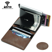 Bycobecy 2019 RFID Wallet Card Holder Unisex Metal Aluminum High Quality Crazy Horse PU Leather Vintage Slim Mini