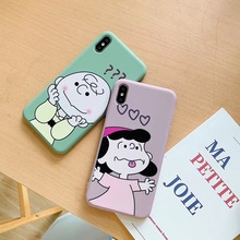 Cute cartoon classic anime Charlie Brown Lucy couple phone case For iphone Xs MAX XR X 6 6s 7 8 plus candy soft TPU back Cover