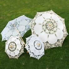 Children Size Embroidery Lace Parasol Umbrella Wedding Decoration Photo Prop Flower Girl Umbrella Cotton Lace Kids Sun Umbrellas