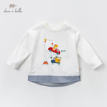 DBJ13529 1 dave bella baby boy print t shirt toddler cotton tops children spring tees pullover long sleeve clothes
