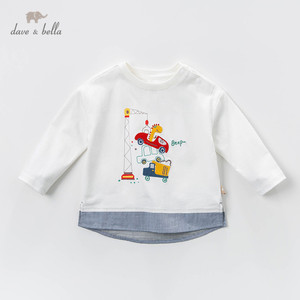Image 1 - DBJ13529 1 デイブベラ少年プリント tシャツ幼児綿トップス子供春 tシャツプルオーバー長袖服
