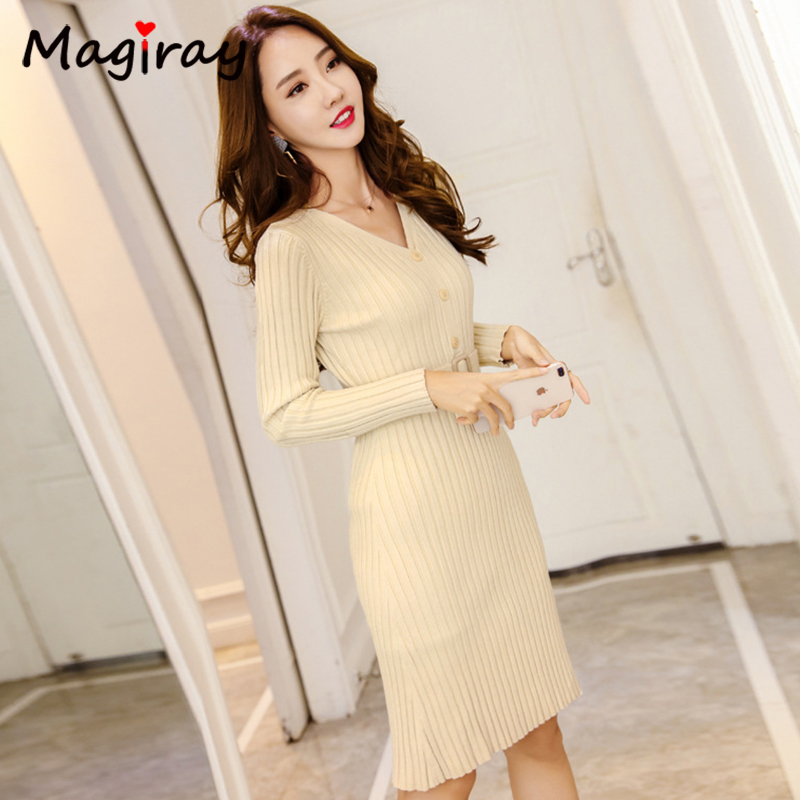 Knitted Belt Long Sleeve Dress Women 2020 Slim Bodycon Autumn Korean Elegant Fall Winter Button V Neck Sweater Midi Ribbed Dress 5