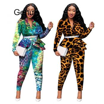 2 Piece Set African Clothes Print Dashiki New Dashiki Fashion Suit (Top And Pants) Super Elastic Party Plus Size Suits For Lady 2020 african dashiki design clothes for lady print appliques with two pockets spring
