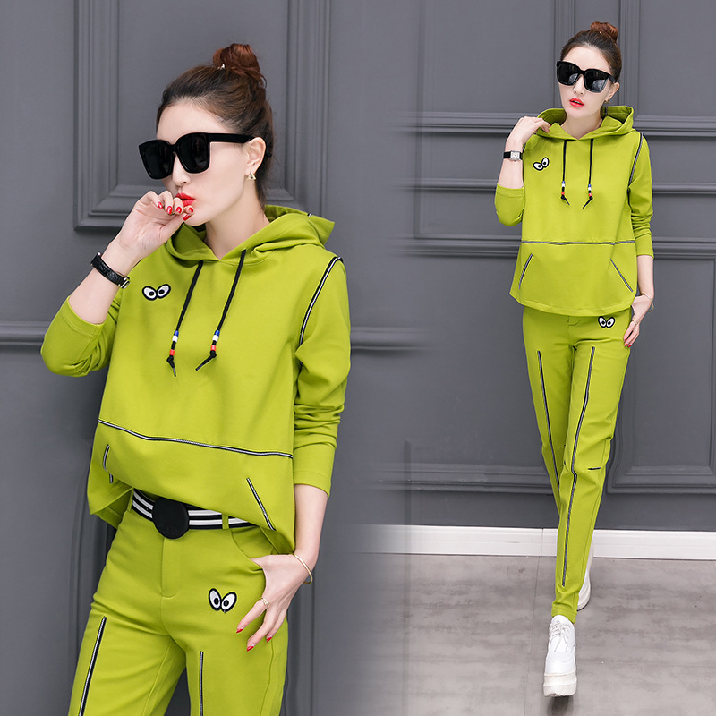Autumn Women's Casual Sports Clothing Hoodie WOMEN'S Suit Spring And Autumn 2018 New Style Fashion Two-Piece Set