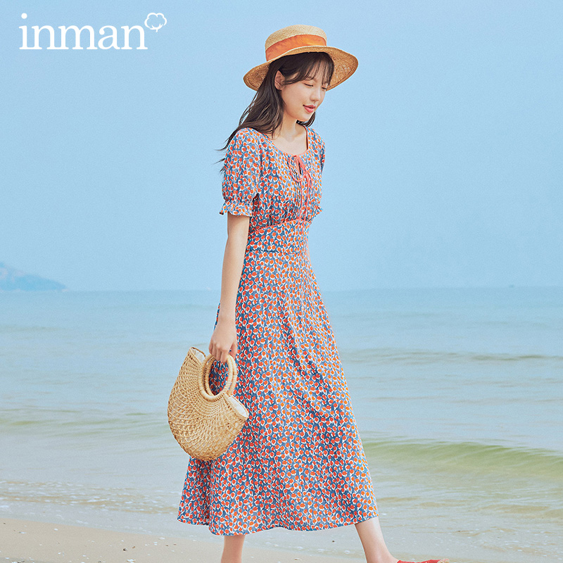INMAN 2020 Summer New Arrival Square Collar Romantic Print French Style Shivering Short Sleeve Dress