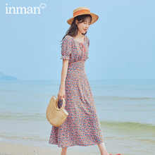 INMAN 2020 Summer New Arrival Square Collar Romantic Print French Style Shivering Short Sleeve