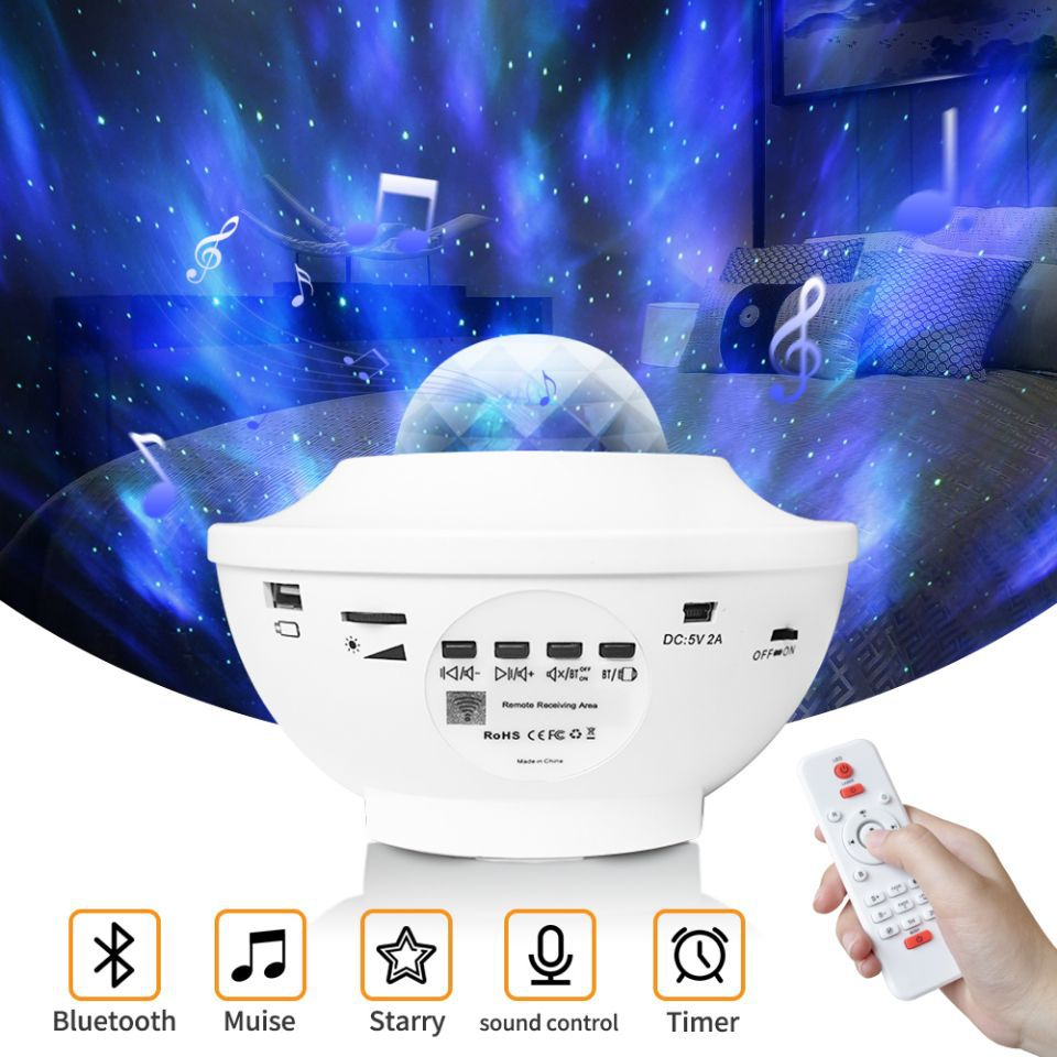 Colorful Starry Sky Projector Blueteeth USB Voice Control Music Player LED Night Light Romantic Projection Lamp Birthday Gift 8