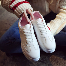 2020 Spring Shoes Woman Solid White Platform Sneakers Breathable PU Leather Casual Shoes Women Trainers Student Lace Up Flats new fashion women white shoes flats platform student female korean soft casual rubber lace up pu leather joker superstar ks 508